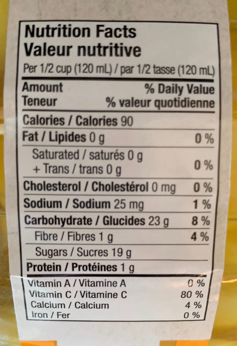 Costco Del Destino Mango Slices Nutrition