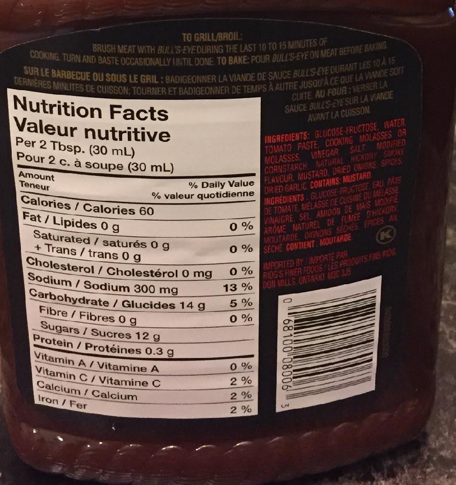 Costco Bulls-Eye Barbecue Sauce Nutrition