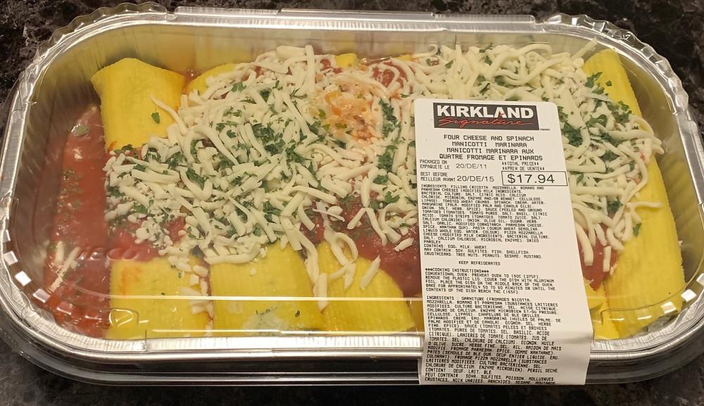 Costco Kirkland Signature Four Cheese and Spinach Manicotti