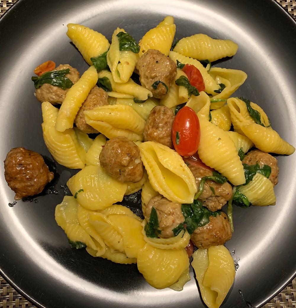 Cooked Costco Kirkland Signature Italian Sausage Pasta Kit