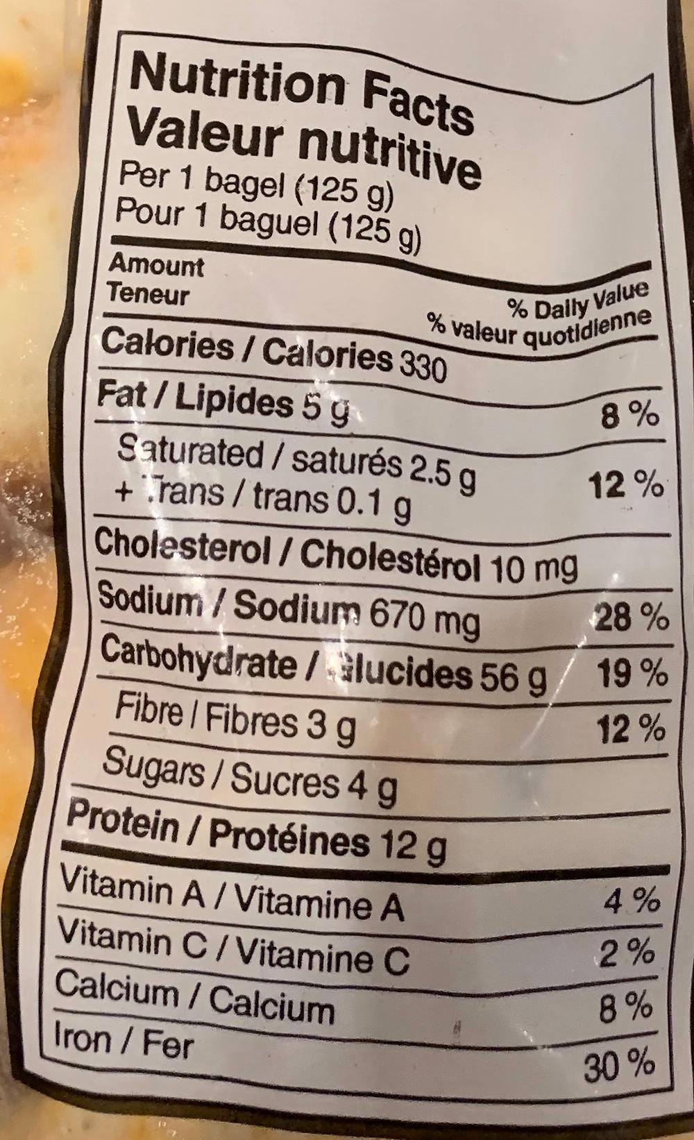 Costco Kirkland Signature Jalapeno Cheddar Bagels Nutrition