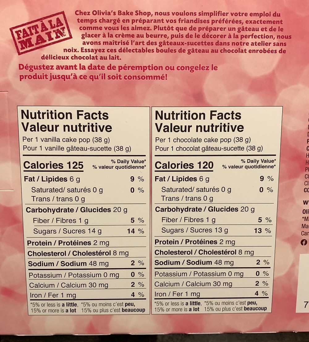 Costco Olivia's Cake Pops Nutrition