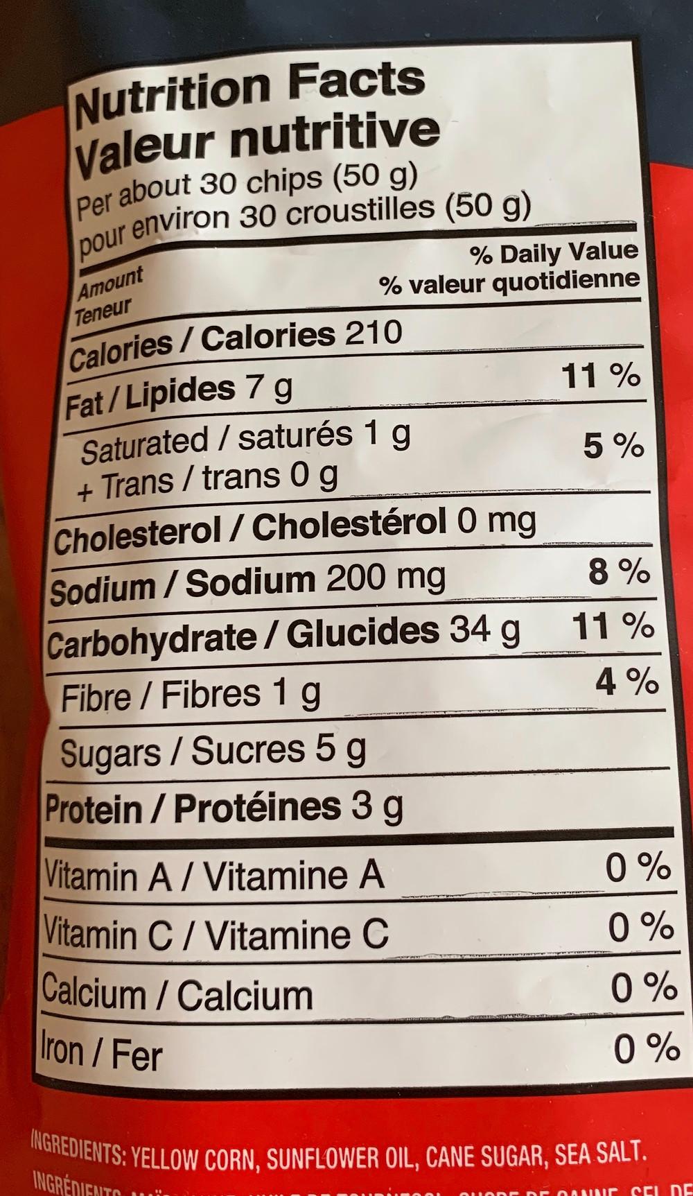 Costco POPCORNERS Sweet & Salty Kettle Corn Nutrition