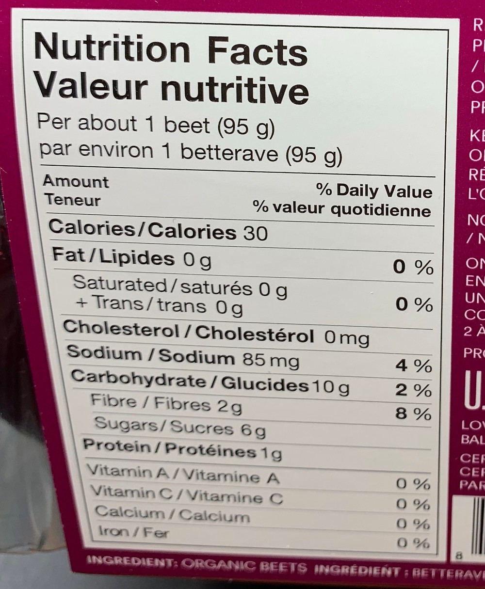 Costco Love Beets Nutrition