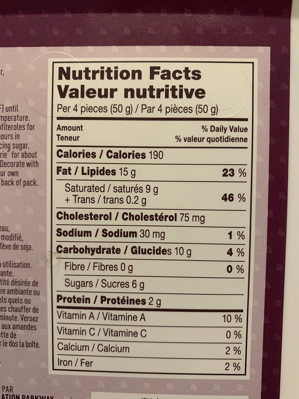 Costco Poppies Profiteroles Nutrition