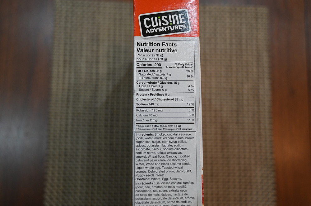 Costco Cuisine Adventures Everything Frank in a Blanket Nutrition