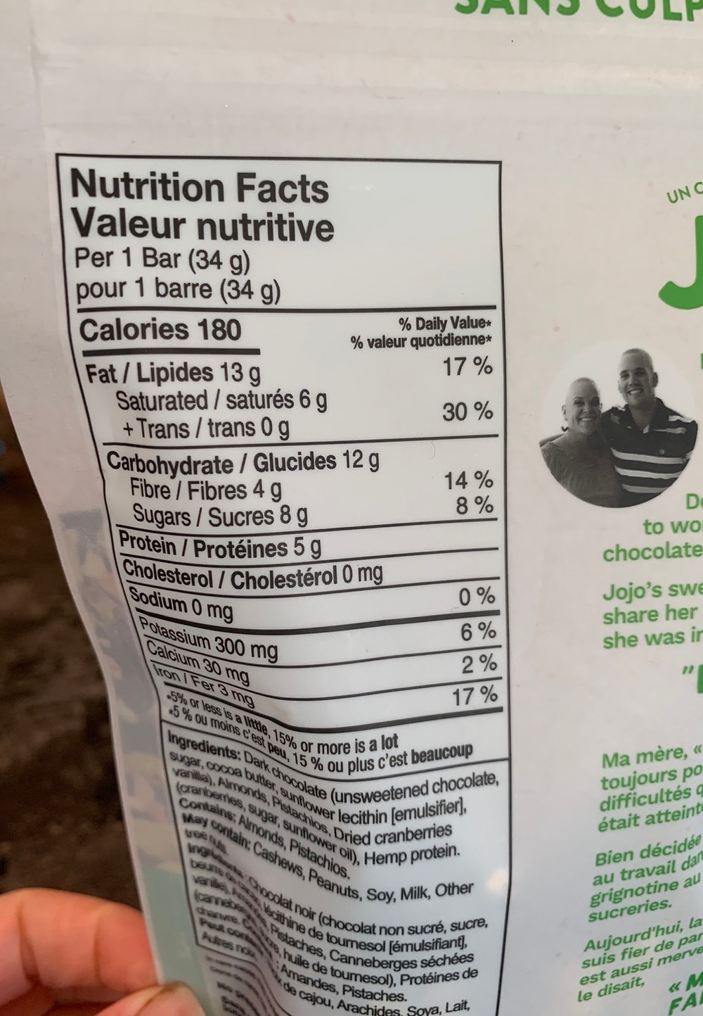 Jojo's Guilt-Free Chocolate Nutrition