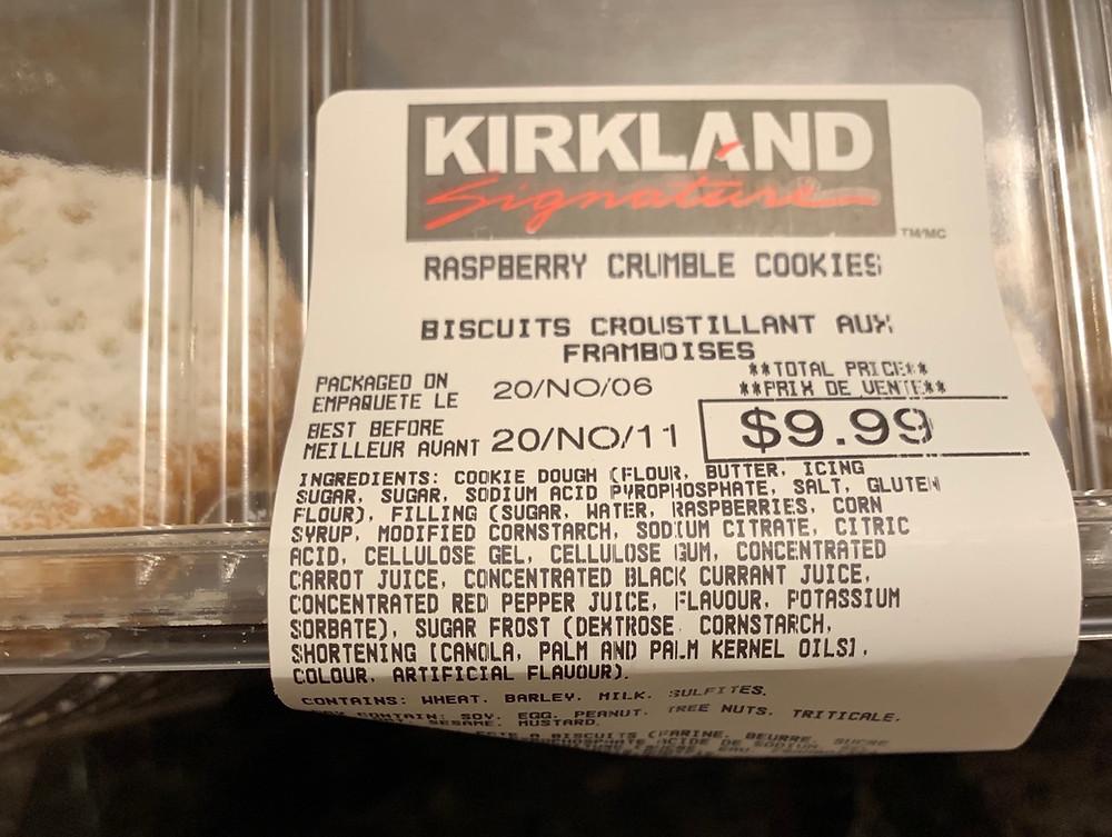 Costco Kirkland Signature Raspberry Crumble Cookies Nutrition