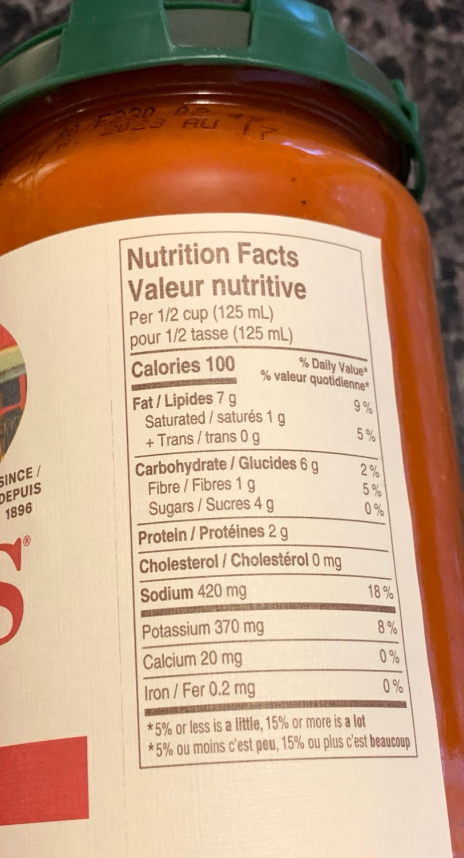 Costco Rao's Marinara Sauce Nutrition