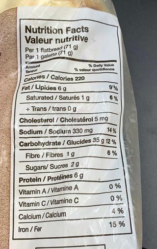 Costco Bakestone Brothers Artisan Thin Crust Flatbread Nutrition
