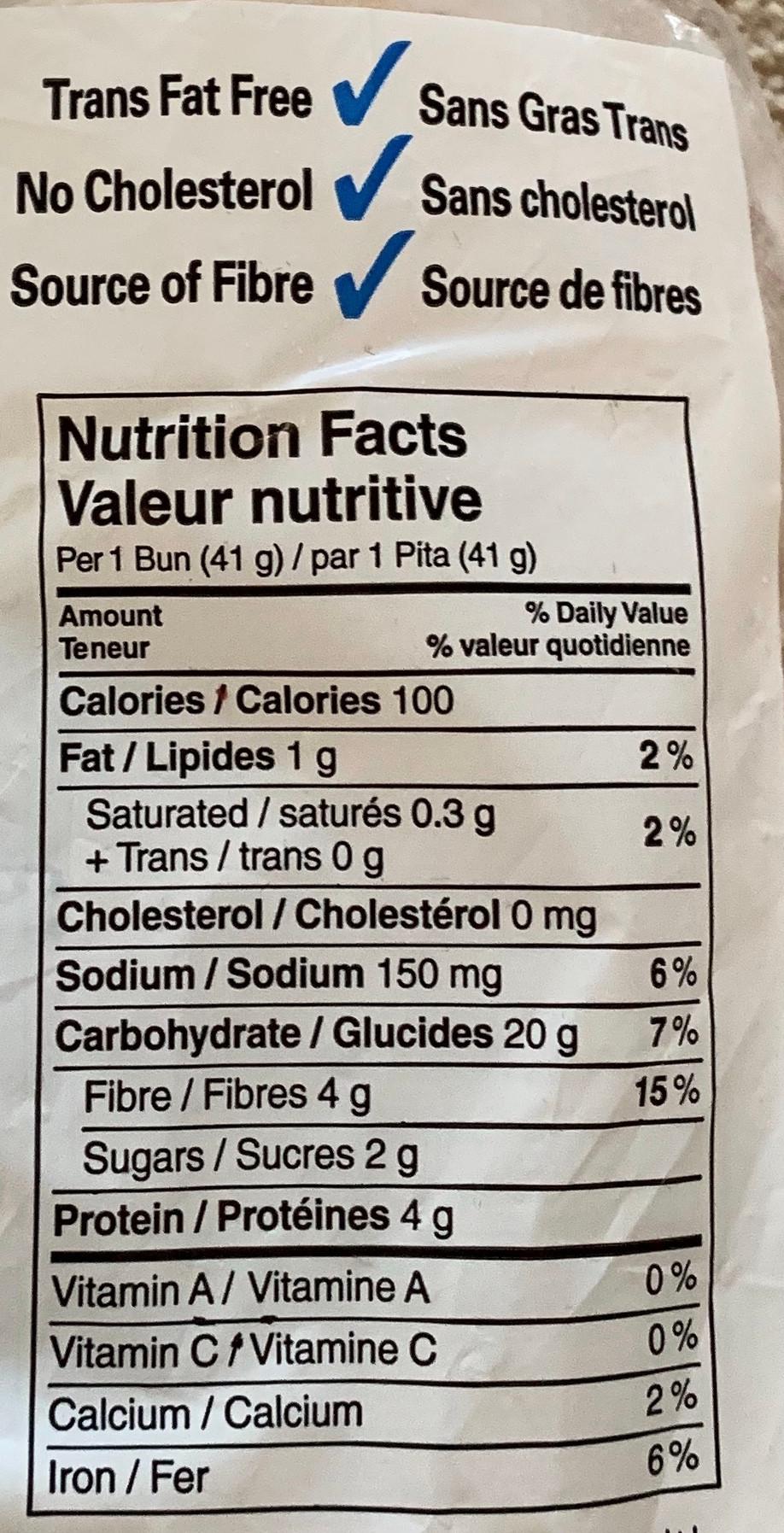 Costco Bakestone Brothers Multigrain Thin Bun Nutrition