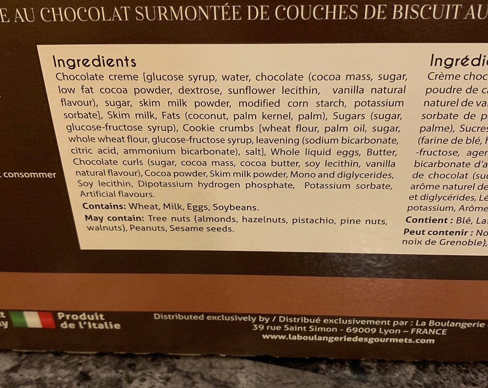 Costco Dolce Mia Chocolate Dream Champagne Flutes Ingredients