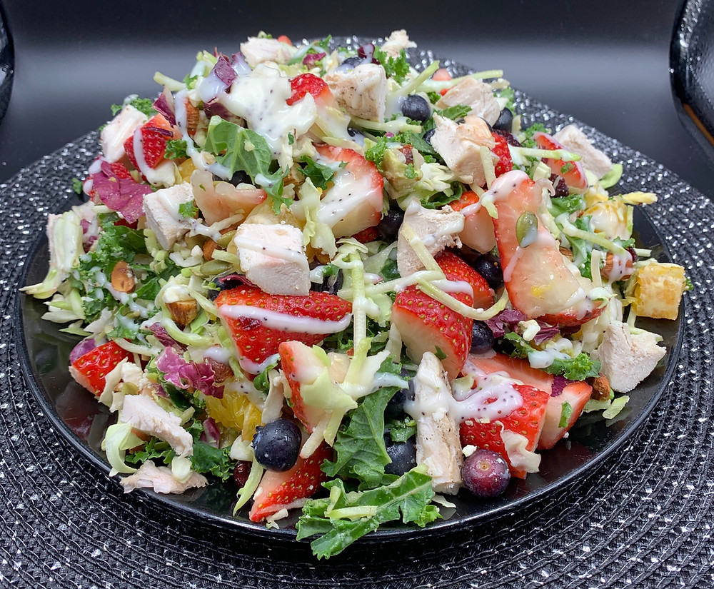 Natalie's Berry Salad Using Costco Eat Smart 7 Superfoods Sweet Kale Salad Kit