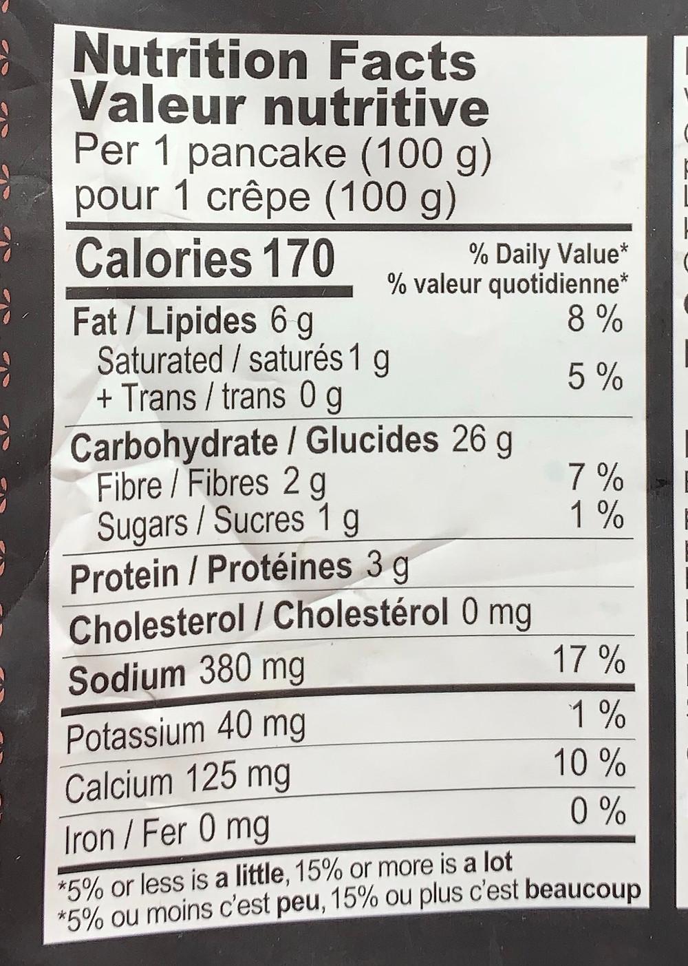Costco Arumi Vegetable Pancakes Nutrition