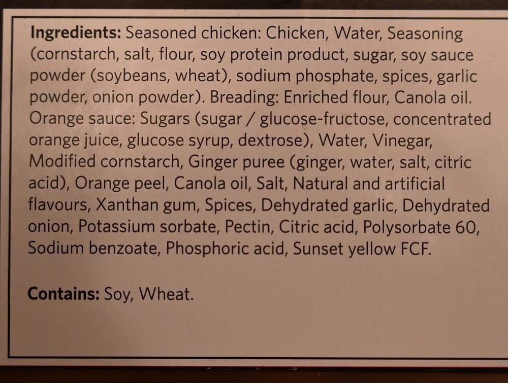 Costco Ready Cuisine Orange Chicken Ingredients