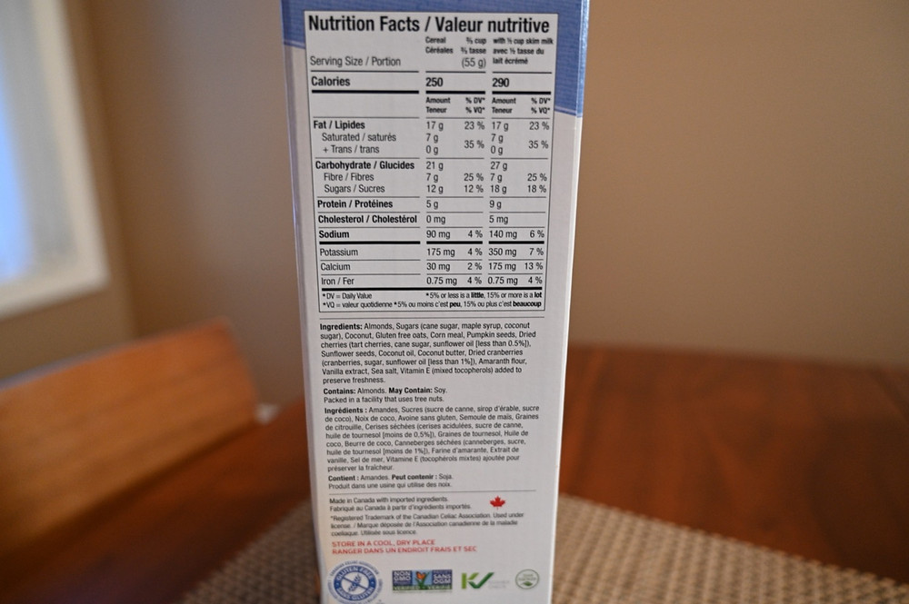 Costco innofoods Almond Fruit Crunch Cereal Nutrition