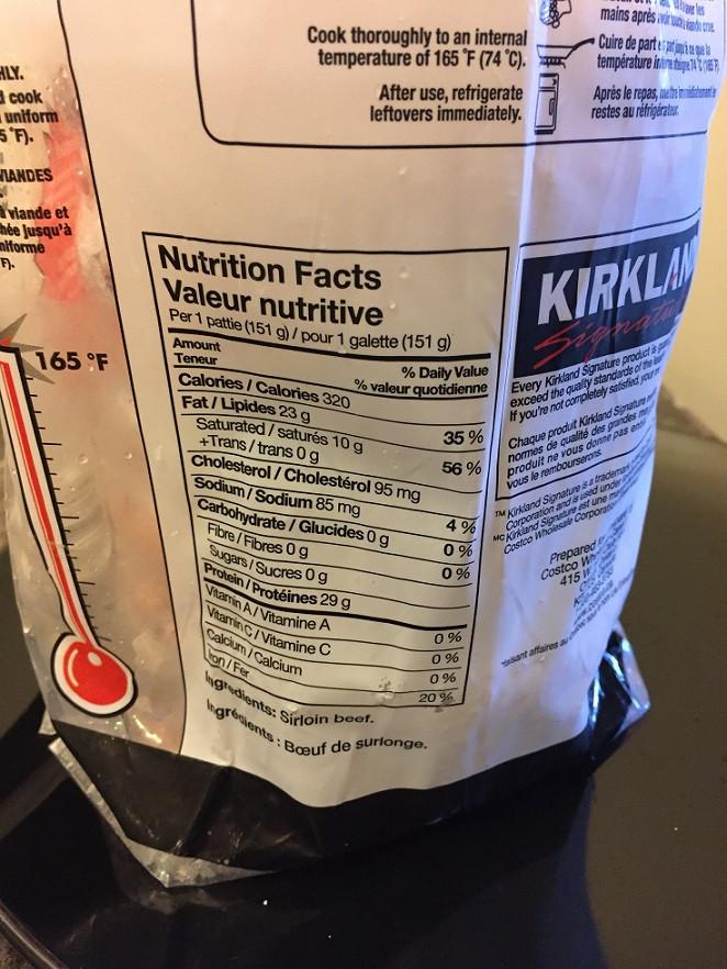 Costco Kirkland Signature Uncooked Lean Sirloin Beef Patties Nutrition