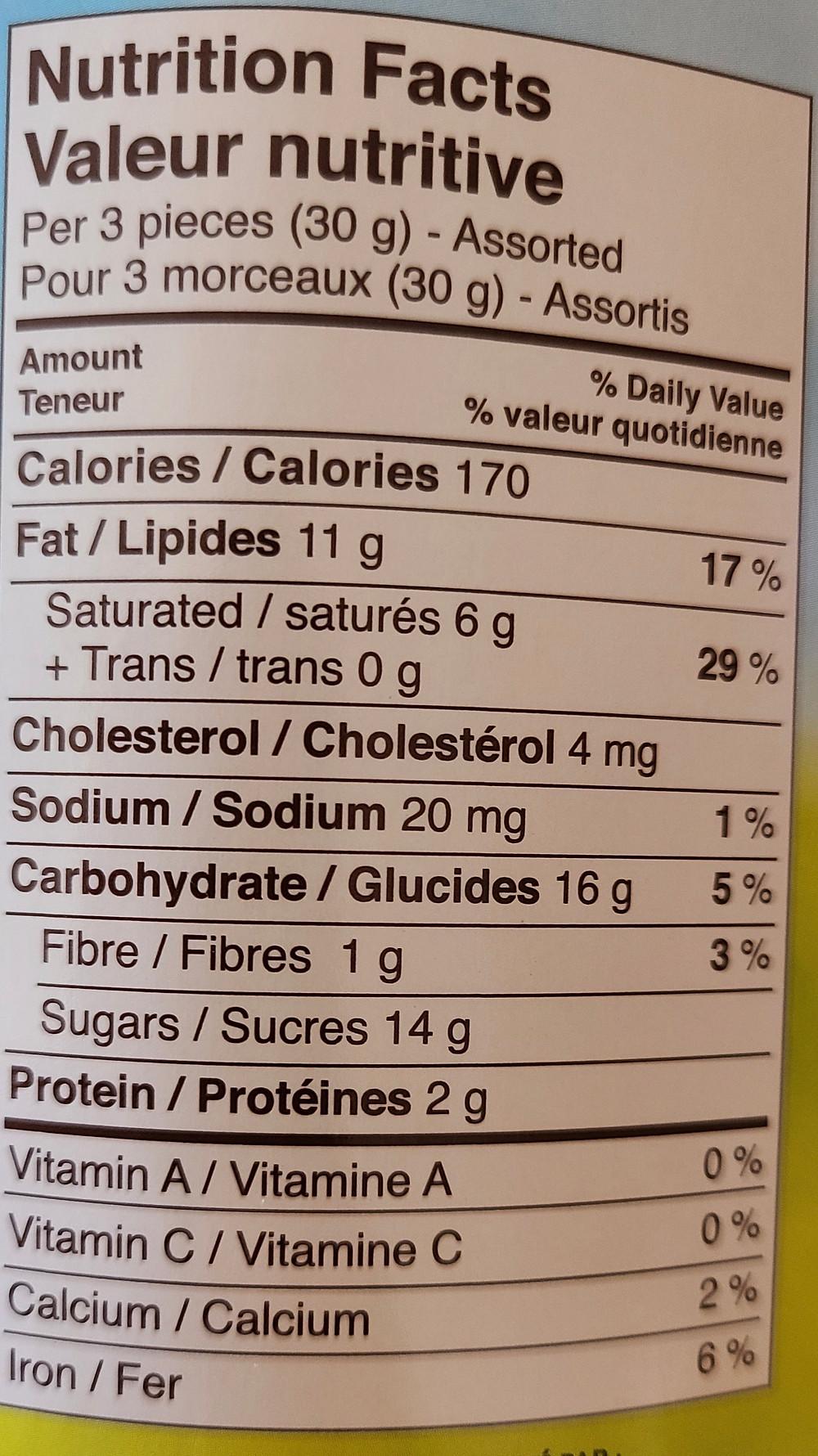 Costco Ferrero Eggs Nutrition