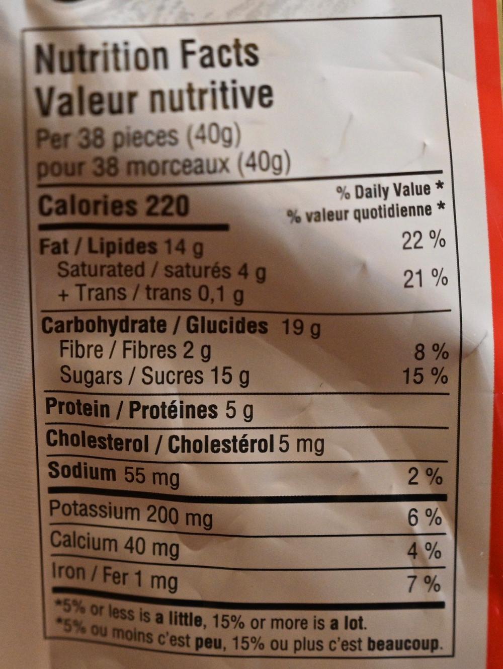 Costco Lamontagne Milk Chocolate Pistachios Nutrition