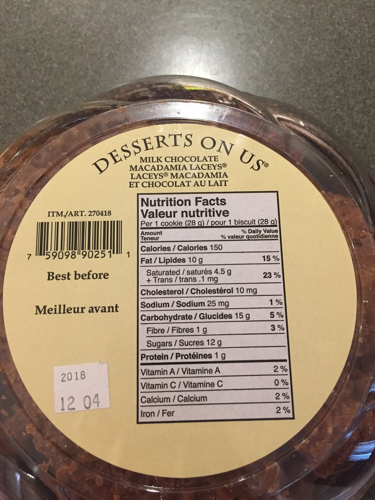 Costco Laceys Milk Chocolate Macadamia Nut Cookies Nutrition