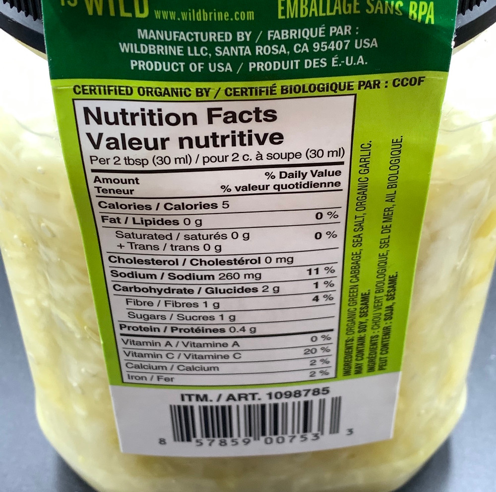 Costco Wildbrine Raw Organic Sauerkraut Nutrition