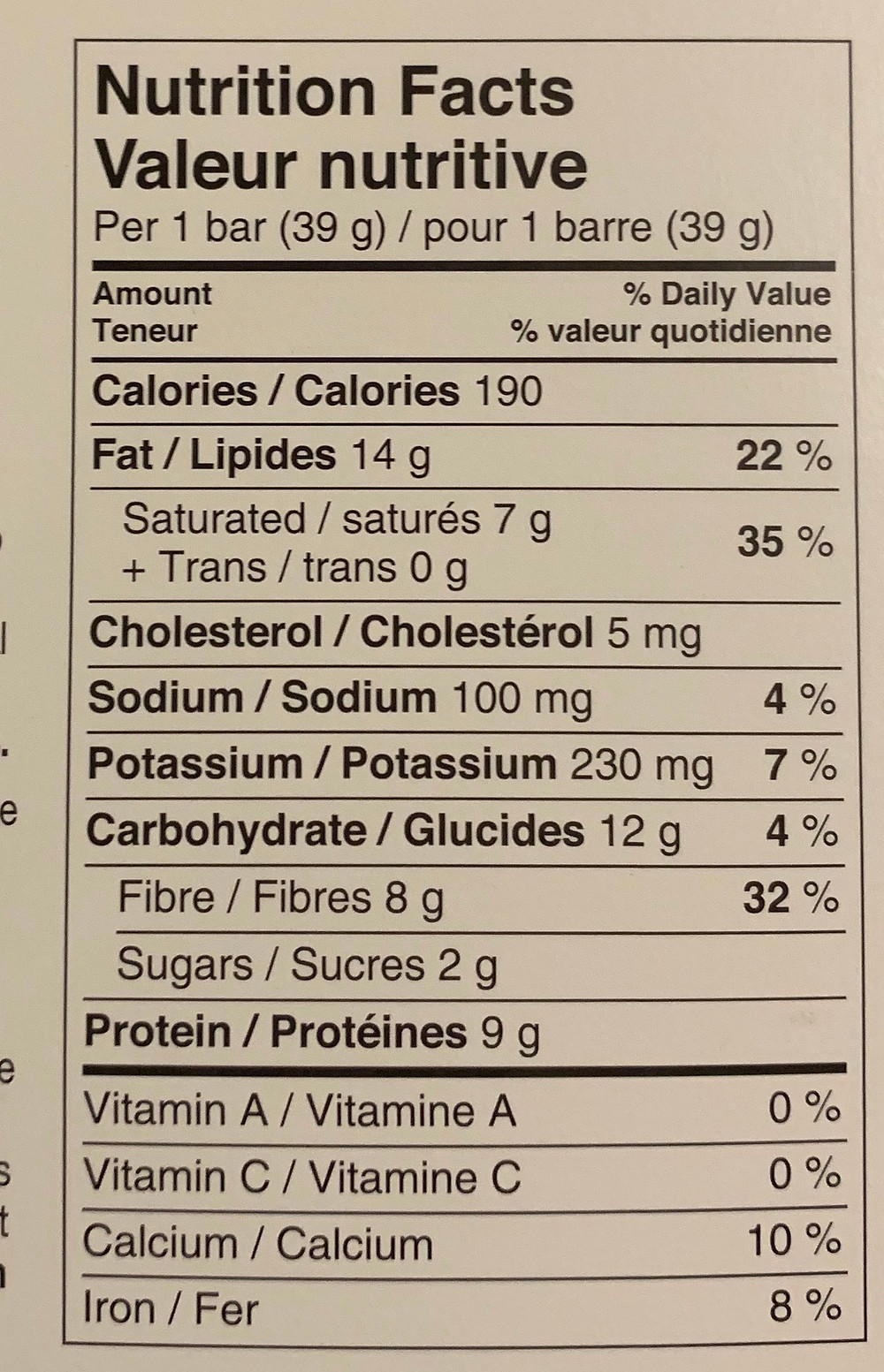 Costco love good fats Keto Snack Bars Rich Chocolatey Almond Nutrition