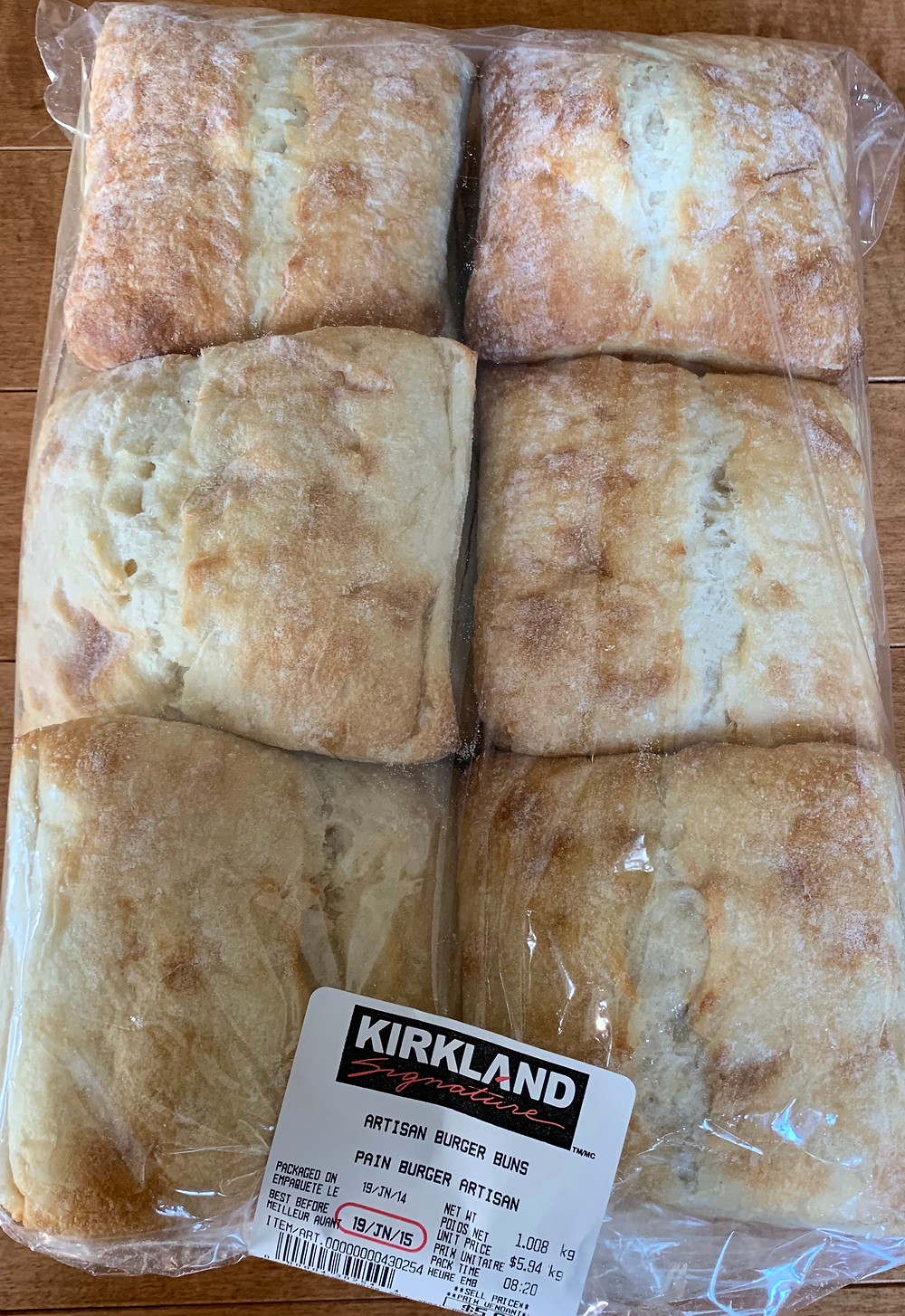 Costco Kirkland Signature Artisan Hamburger Buns