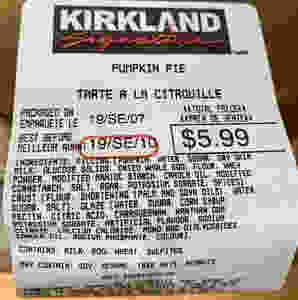 Costco Kirkland Signature Pumpkin Pie Ingredients
