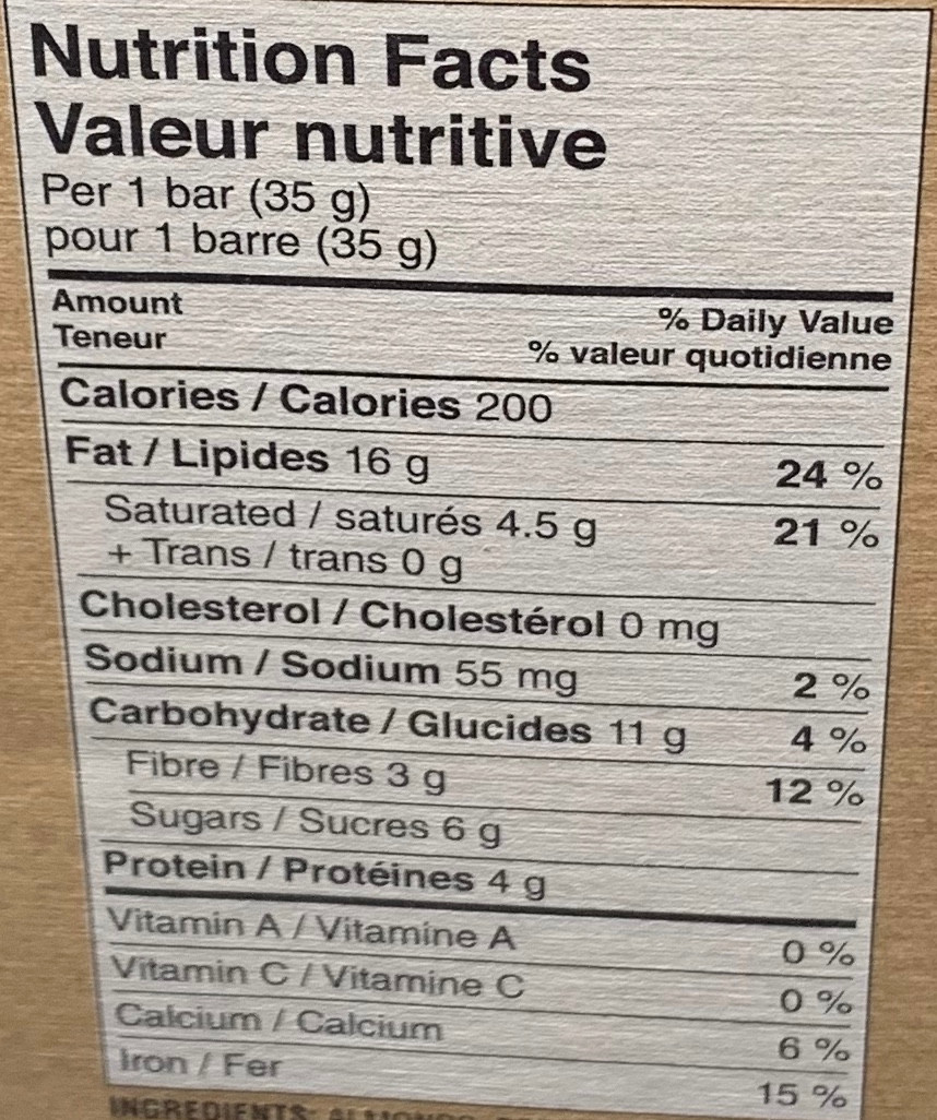 Costco Autumn's Gold Grain Free Granola Bars Nutrition