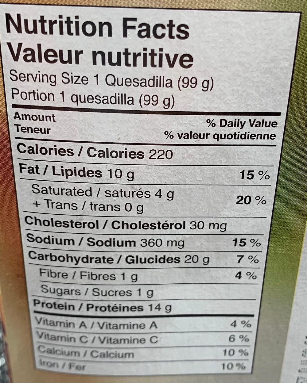 Costco El Monterey Quesadillas Nutrition