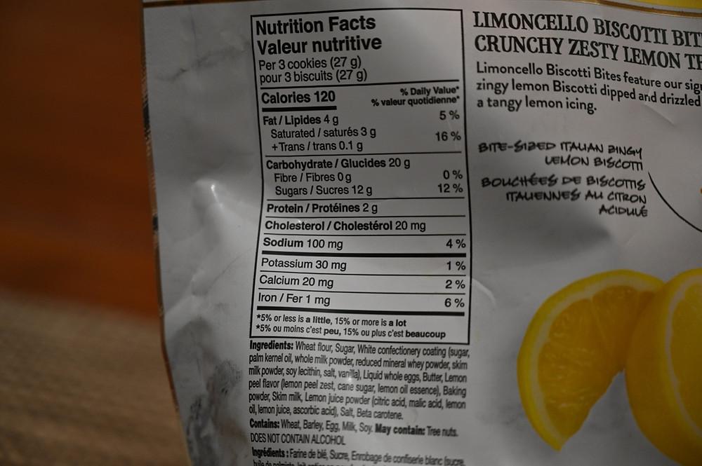 Costco Nonni's Limoncello Biscotti Bites Nutrition and Ingredients