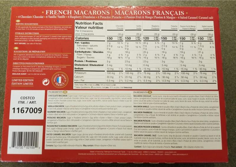Costco Tipiak French Macarons Nutrition