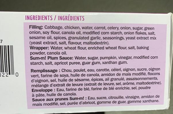 Costco Sum-m! Crispy Mini Chicken Spring Rolls Ingredients