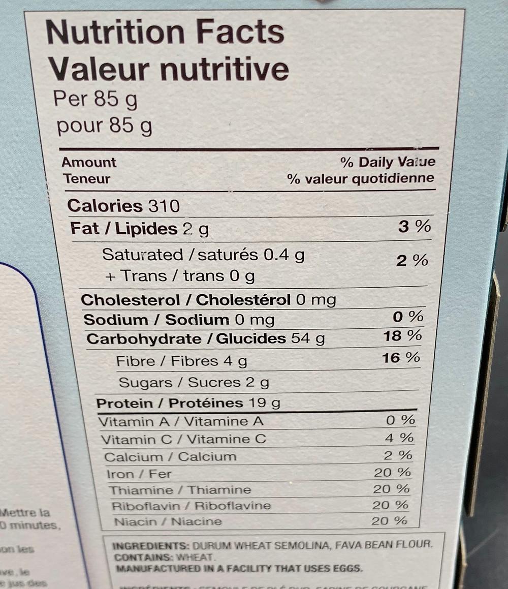 Costco Catelli Protein Spaghetti Nutrition