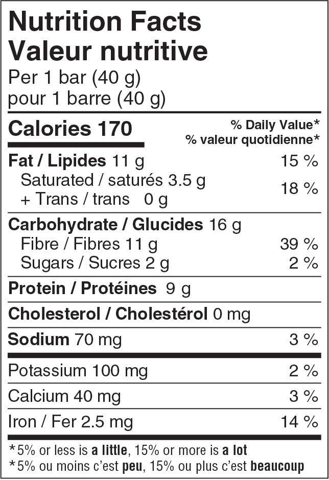Hungry Buddha Chocolate Chip Keto Bar Nutrition