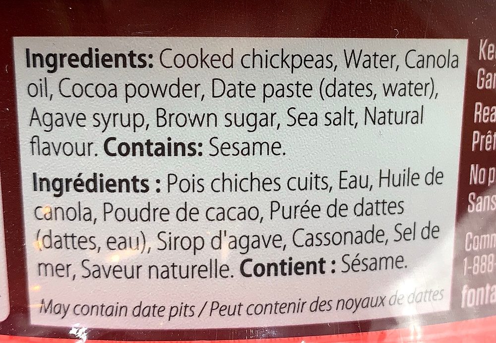 Costco Fontaine Sante Dark Chocolate Hummus Ingredients