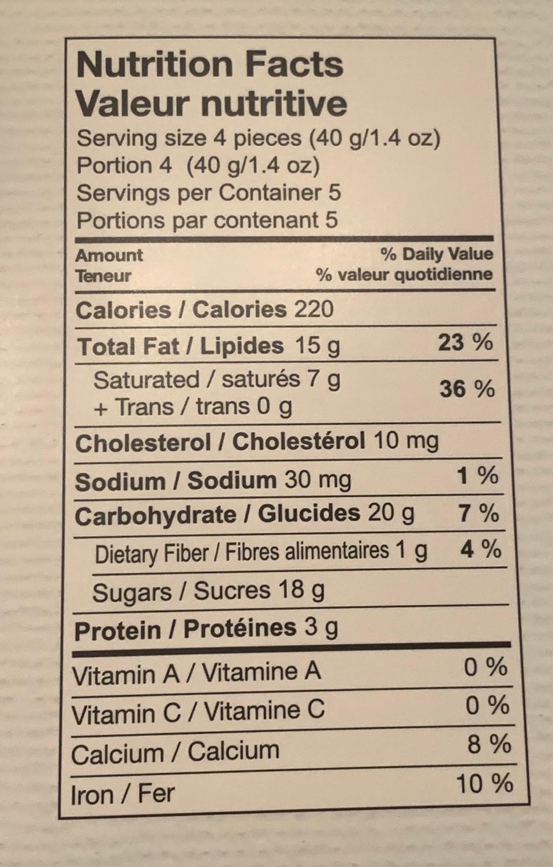 Costco CHOCXO Mini Hedgehogs Nutrition