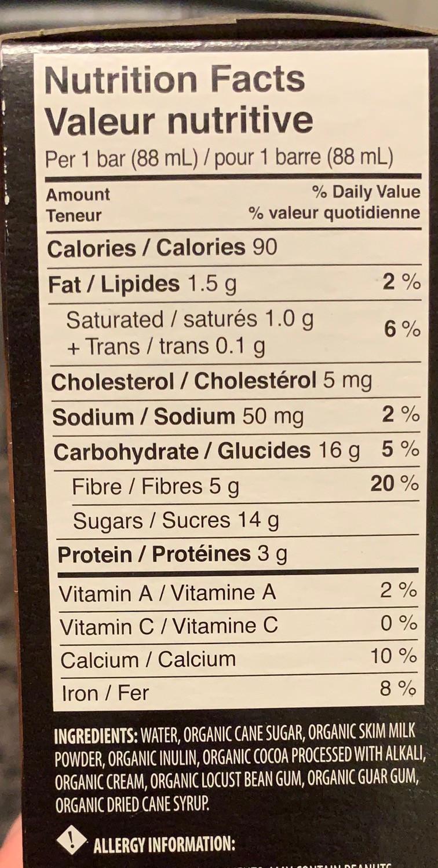 Costco Traditions Organic Fudge Bars Nutrition