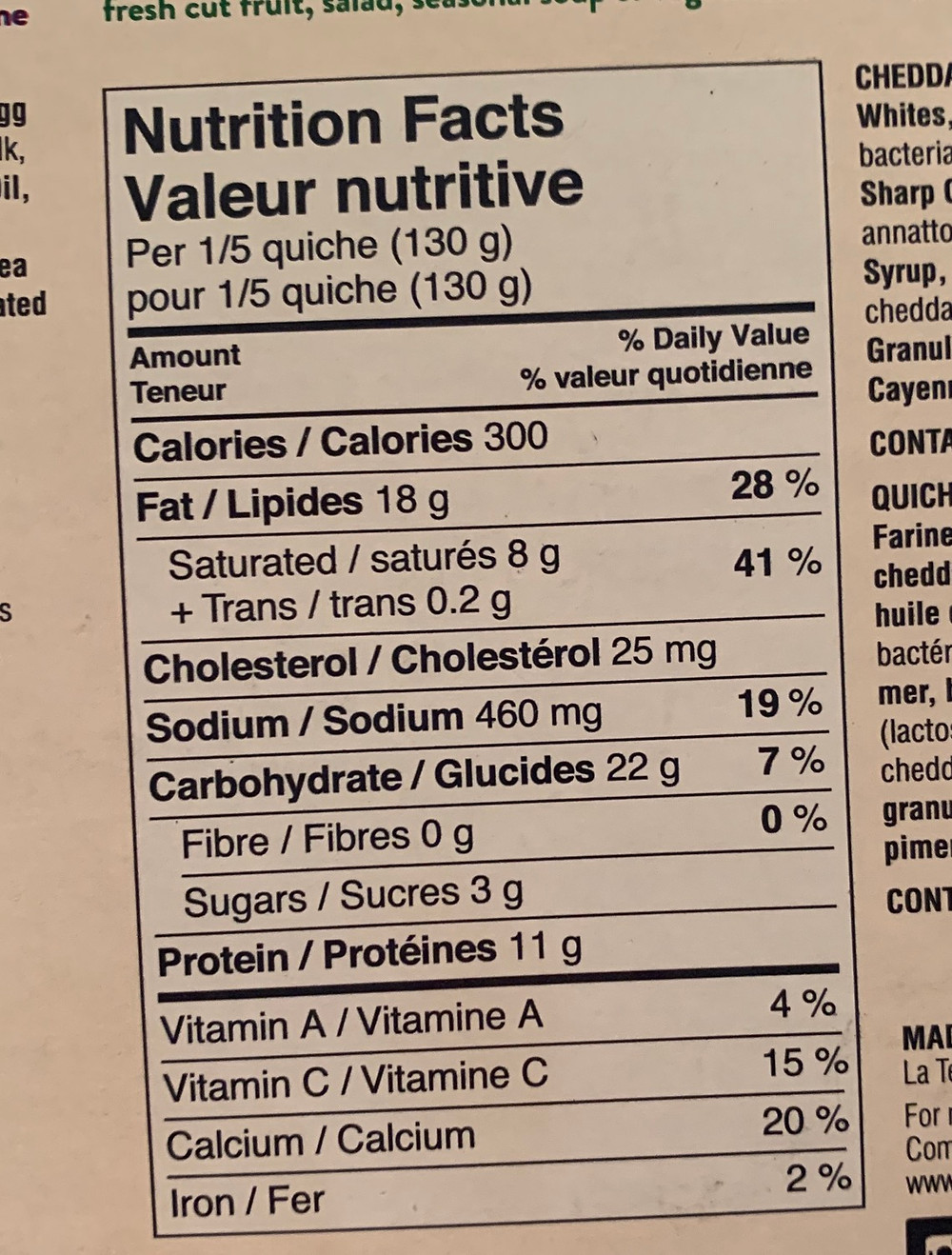 Broccoli & Cheddar Quiche Nutrition