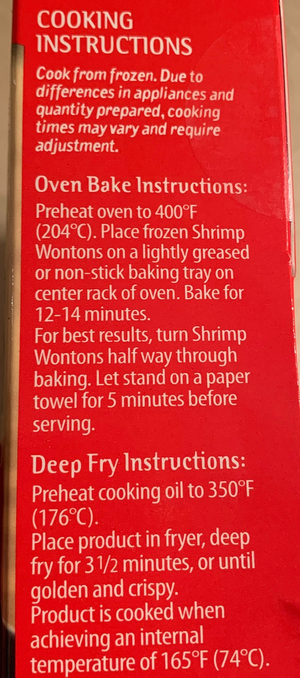 Costco Sato Asian Fare Shrimp Wontons Cooking Instructions