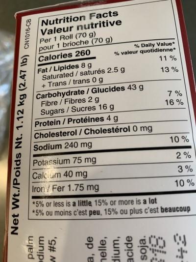 Costco Baker Boys Cinnaroll Nutrition