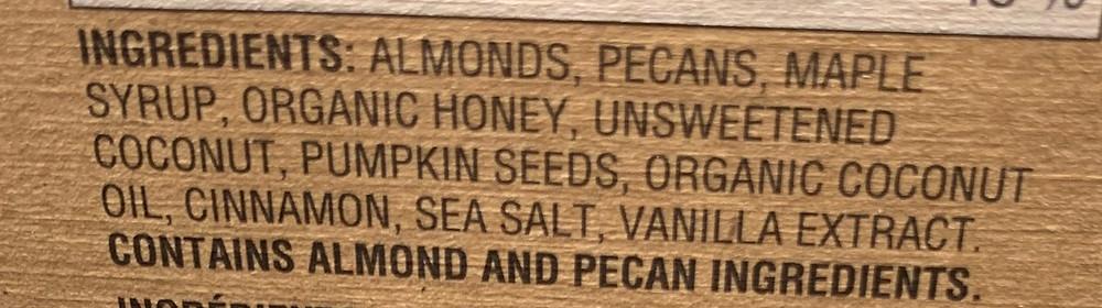 Costco Autumn's Gold Grain Free Granola Bars Ingredients