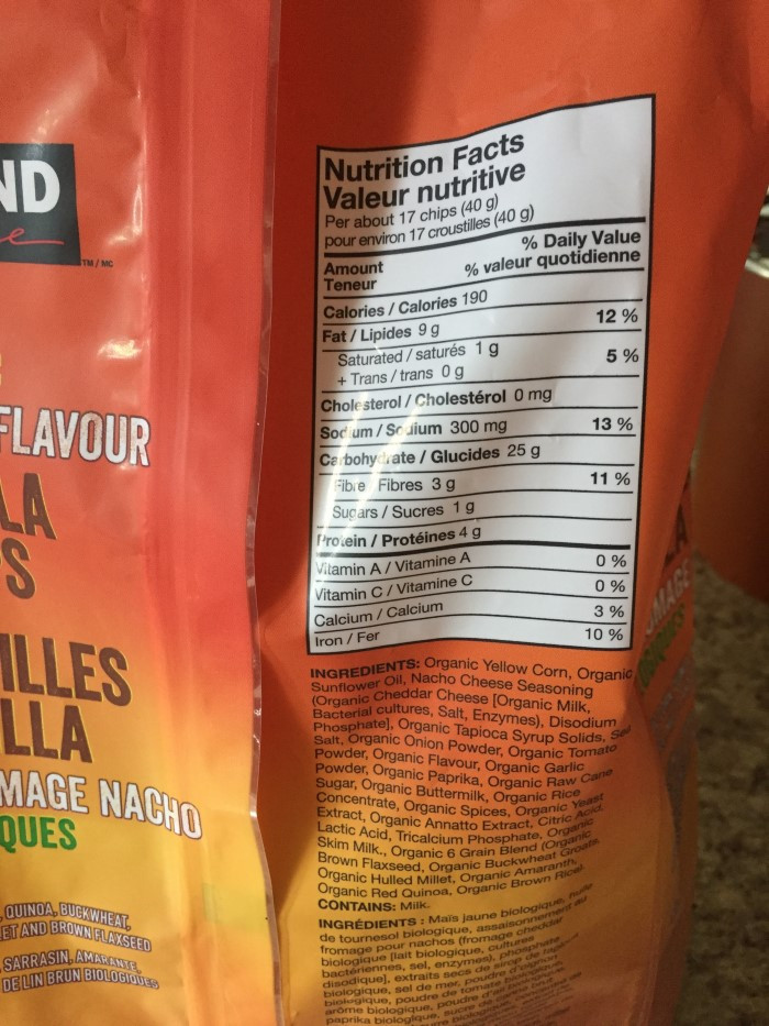 Costco Kirkland Signature Organic Nacho Cheese Flavour Tortilla Chips Nutrition