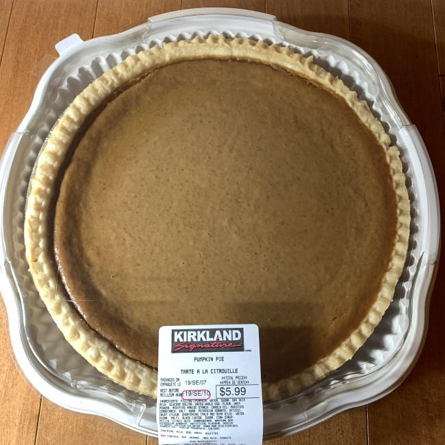 Costco Kirkland Signature Pumpkin Pie