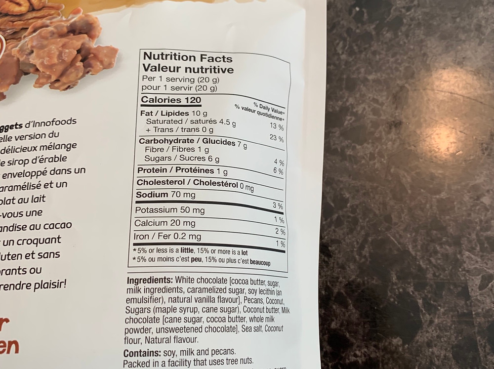 Costco innofoods Golden Nuggets Nutrition
