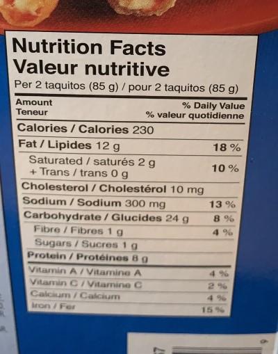 Costco El Monterey Chicken & Cheese Taquitos Nutrition