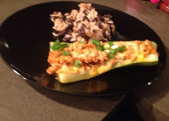 Zucchini Boats Using Costco Kirkland Ground Turkey and Pace Salsa