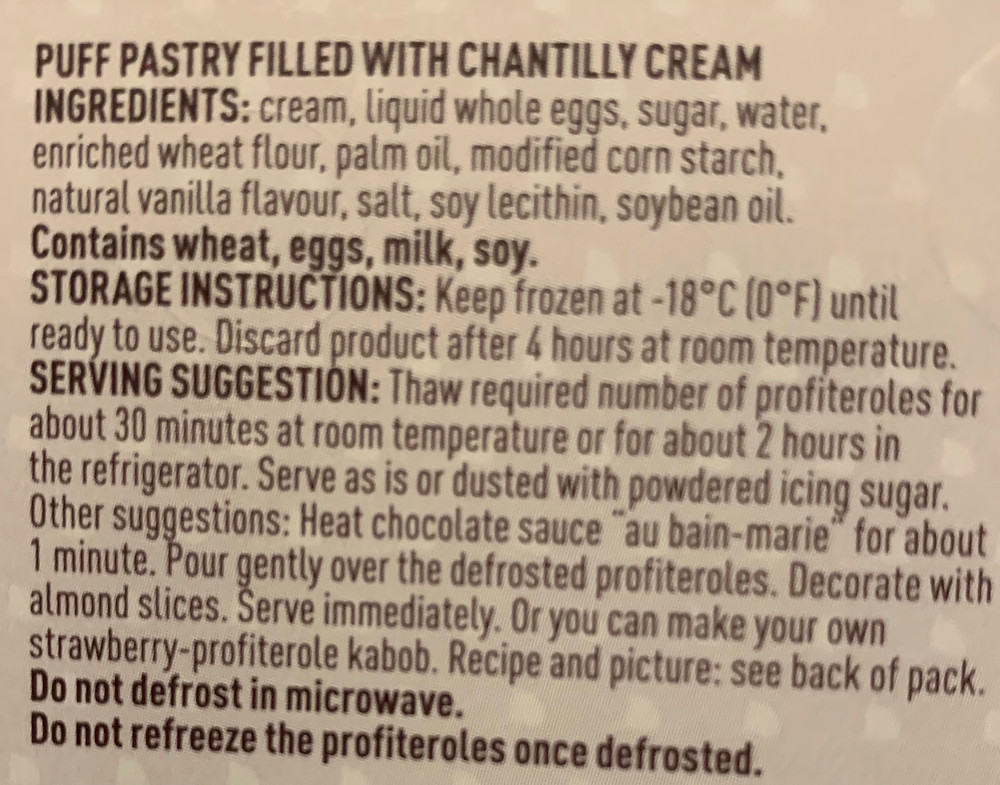 Costco Poppies Profiteroles Ingredients
