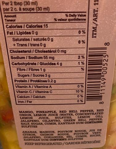 Big Taste Fresh Mango Salsa from Costco Nutrition