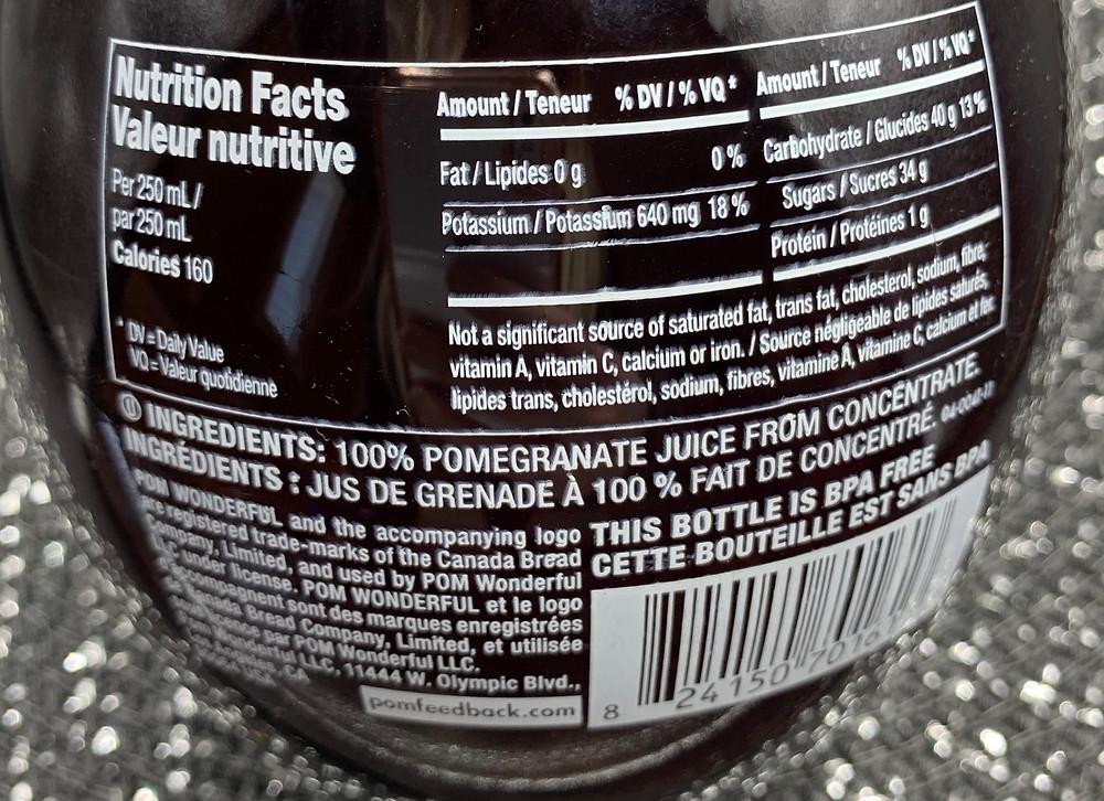 Costco POM Wonderful Pomegranate Juice Nutrition